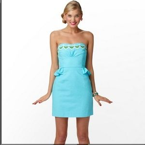 Lilly Pulitzer Maybell Peplum Dress Shorely Blue